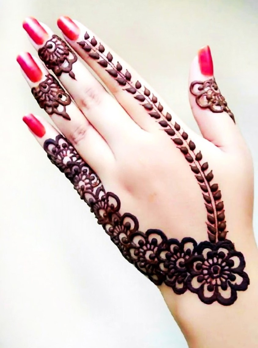 Arabic Designs for Hands with Flowers and Leaves