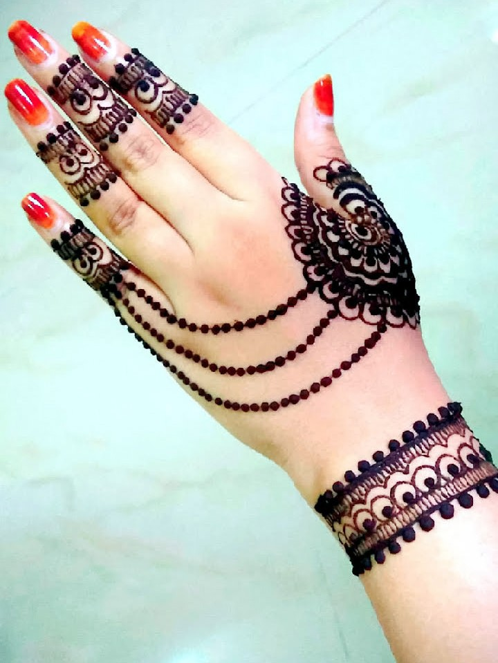 Beautiful Back Hand Arabic Mehndi Design