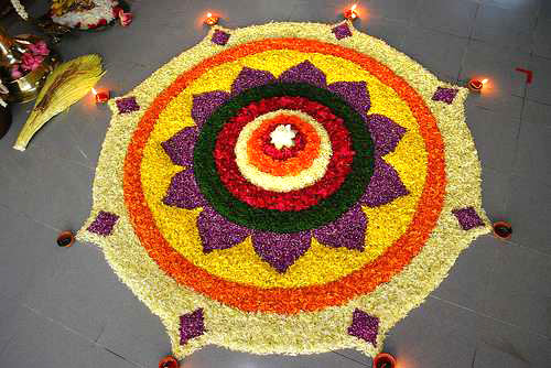 Beautiful Flower Rangoli Art
