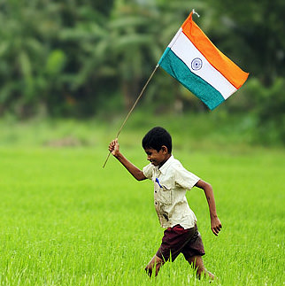 Boy with Indian Flag Display Picture
