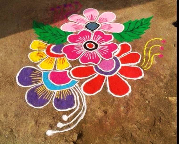 Colorful Rangoli Design for FLowers