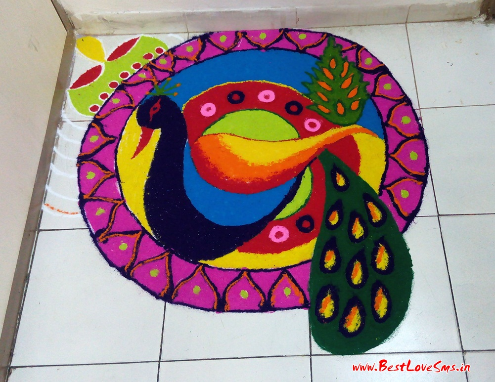 Peacock Rangoli Patterns
