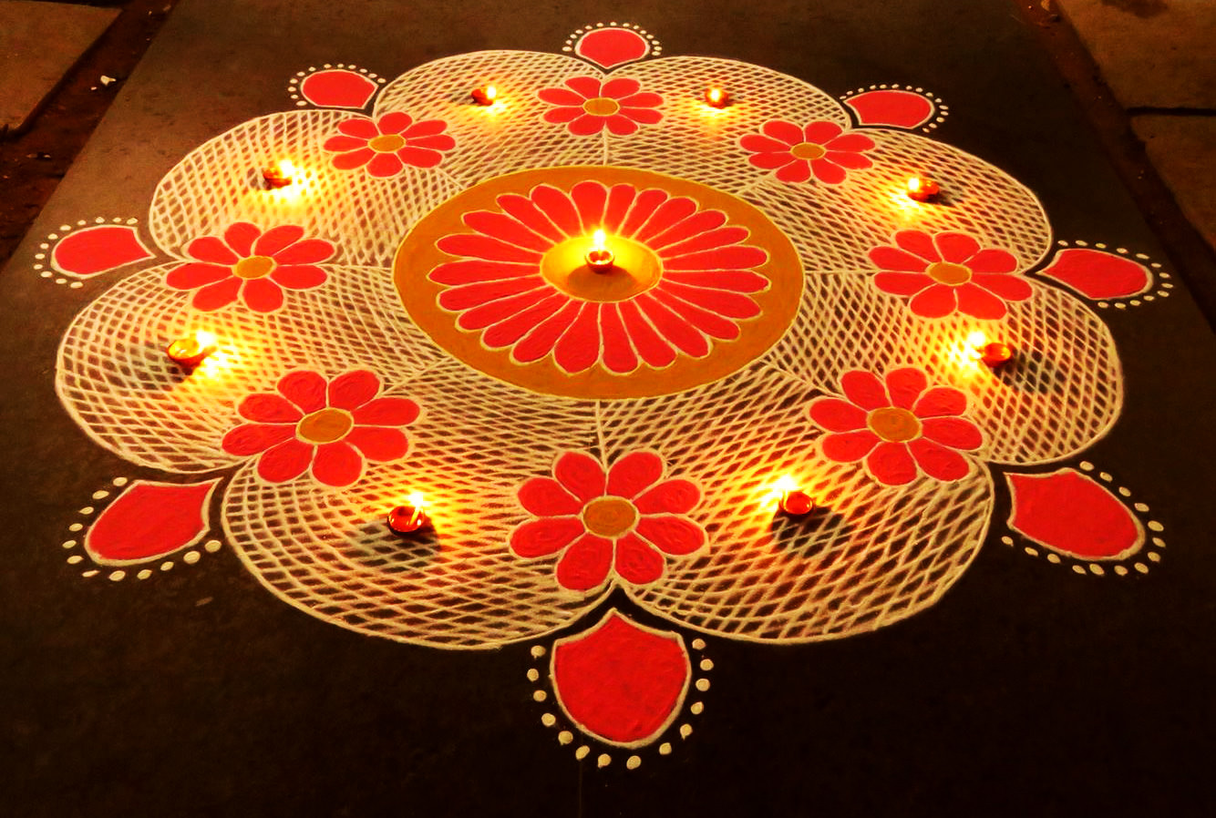 Flower Rangoli Design for Diwali with Diya