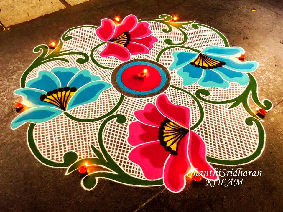 Flower Rangoli Theme for Diwali Festival