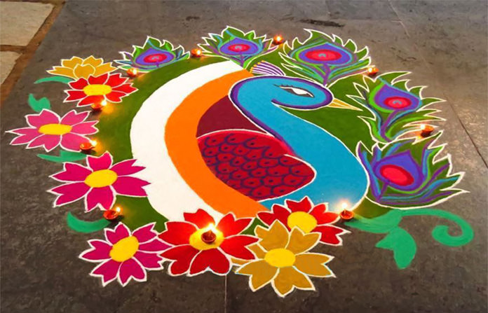 Flower Rangoli for Independence Day