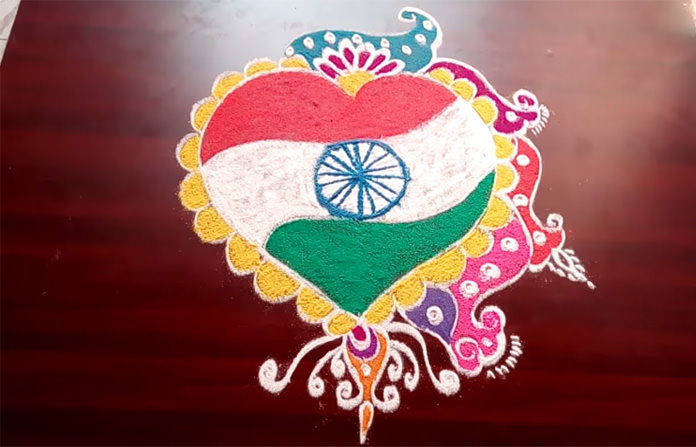 Happy Independence Day Rangoli Theme