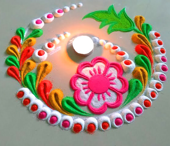 Flower Rangoli Design for Door