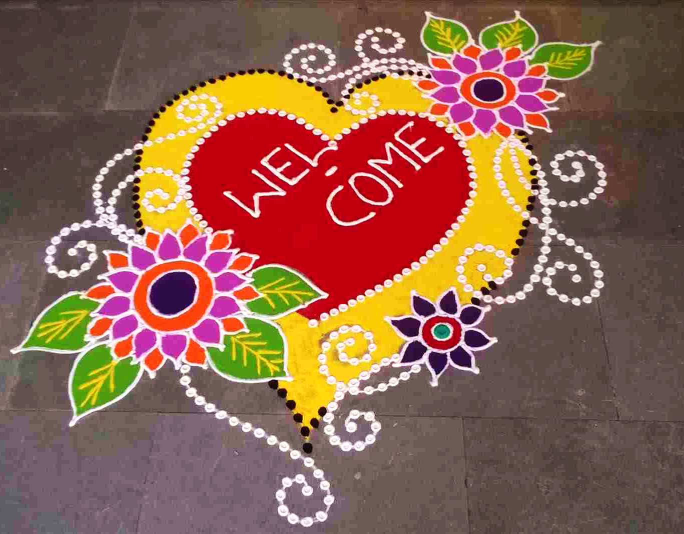 Welcome Rangoli Design with Flowers