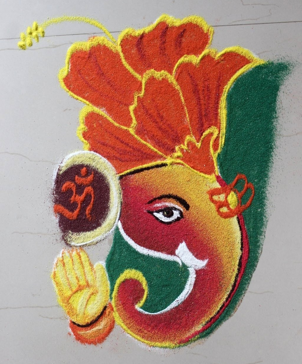 Rangoli Of Ganesh with OM