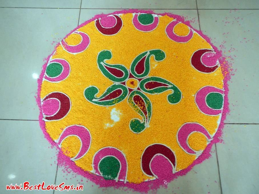 Rangoli Freehand Designs Flowers