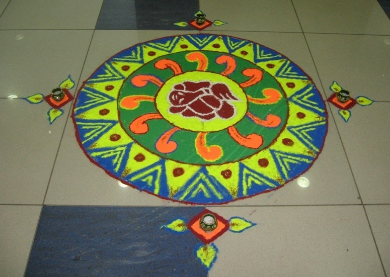 Rangoli Designs Ganesh with Colors