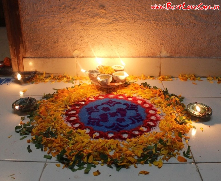 Rangoli designs with flowers beautiful simple easy hd images for Simple diwali home decorations