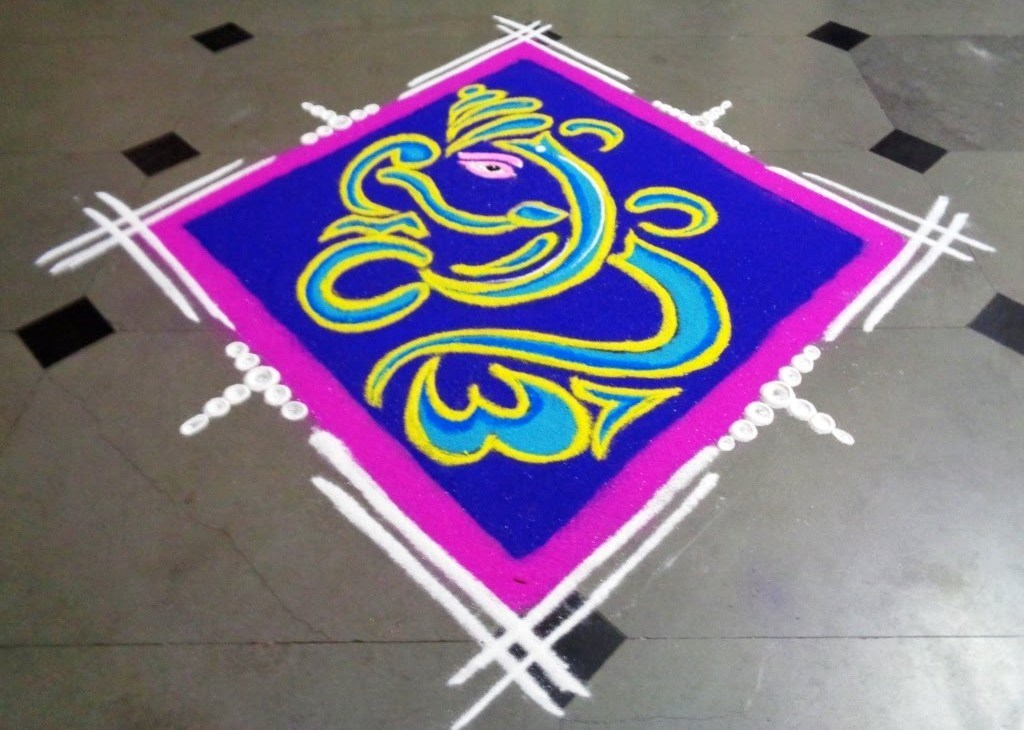 Ganpati Rangoli Image in Square Shape