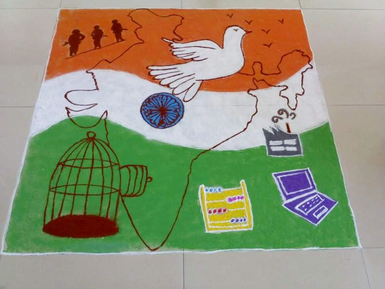 Happy Independence Day Rangoli Designs on Desh Bhakti ...