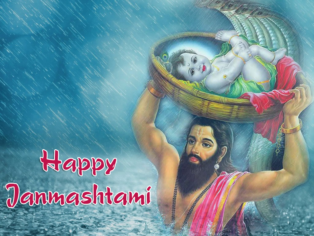 Little Krishna Janmashtami Wallpaper