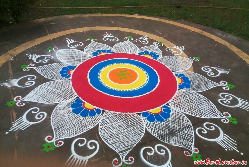 Free Hand Rangoli Designs With Flowers Design