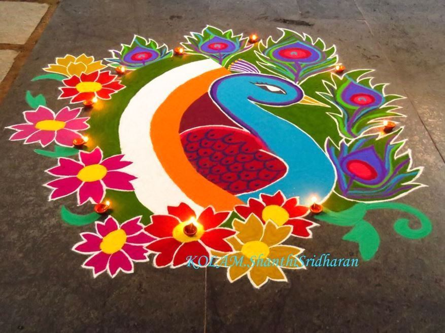 Best Peacock Rangoli for Deepavali