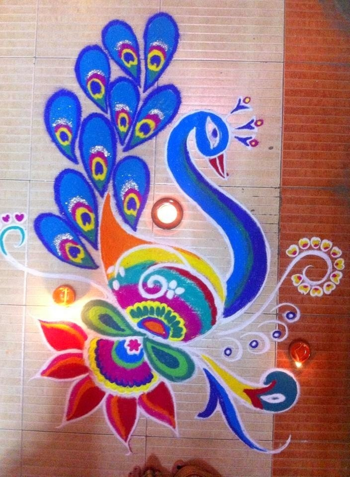 Beautiful Peacock Rangoli for Deepavali