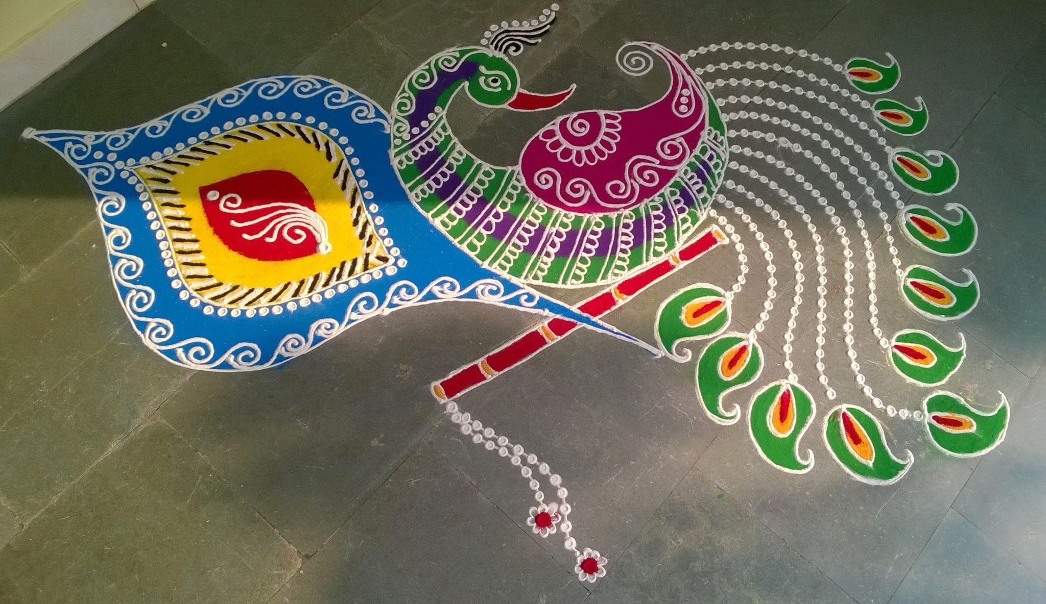 Award Winning Rangoli Of Peacock
