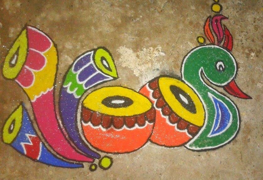 Peacock Design for Traditional Rangoli