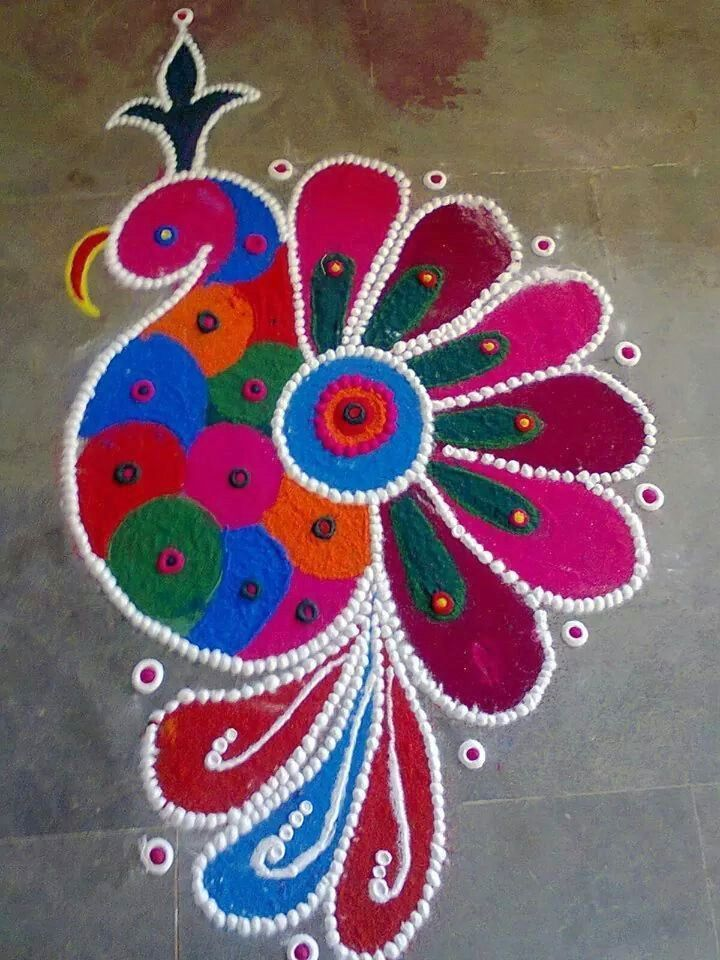 Best Peacock Rangoli for Diwali 2016
