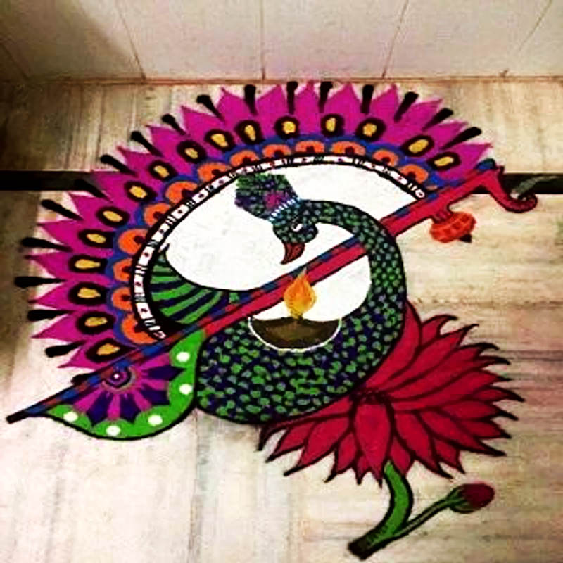 Attractive Peacock Rangoli