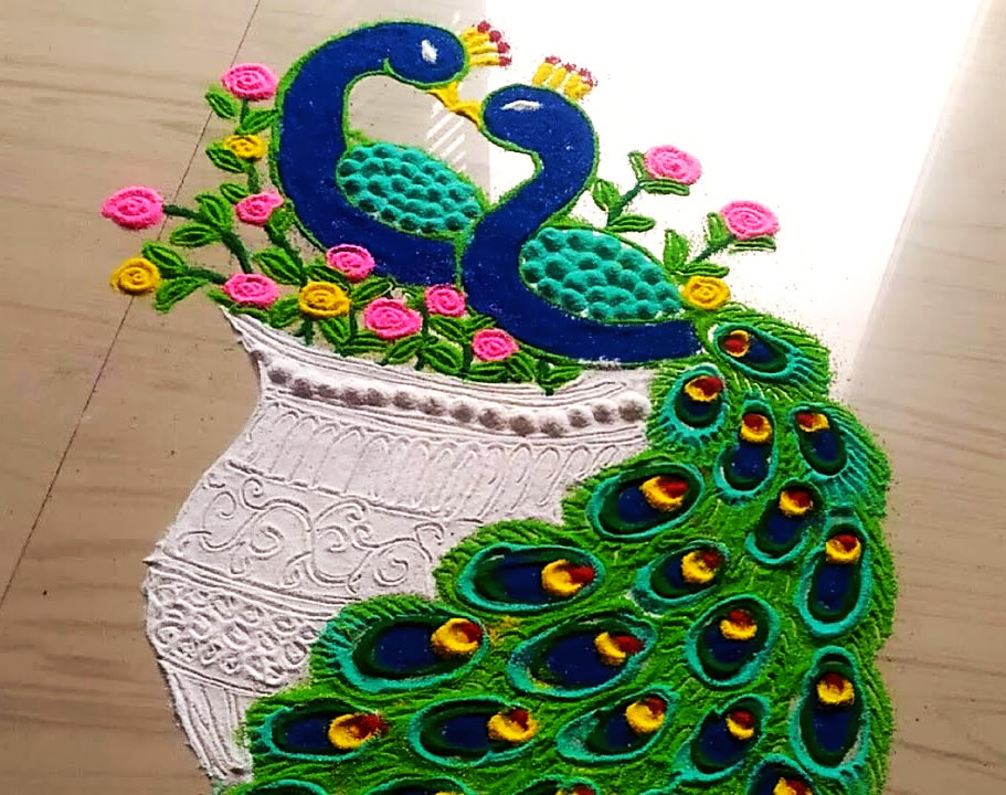 Two Peacock Rangoli Design