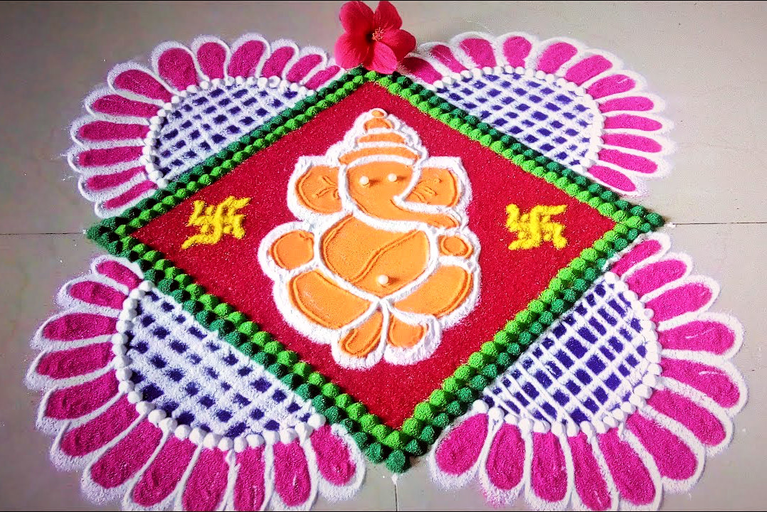 Ganesh Rangoli Design for Competition