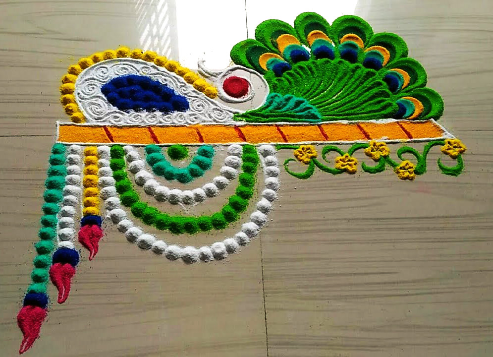 Small Peacock Rangoli Design