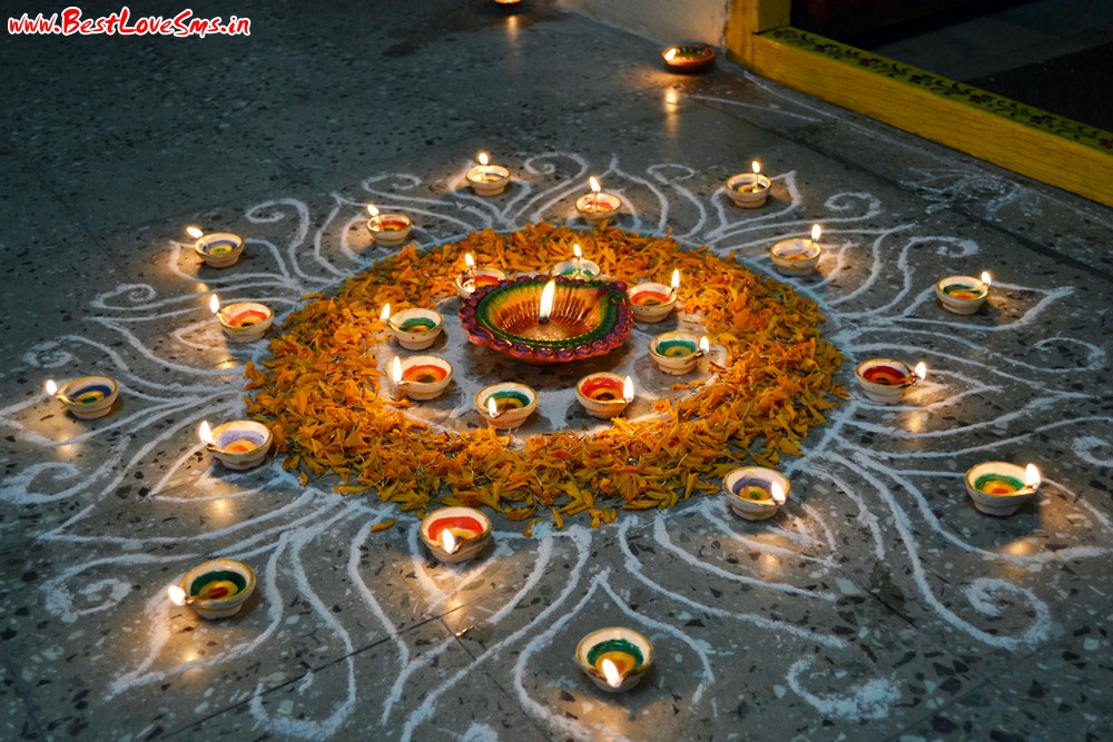 Diwali Rangoli Designs With Flowers