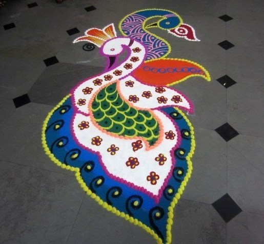 Best Peacock Rangoli for Diwali