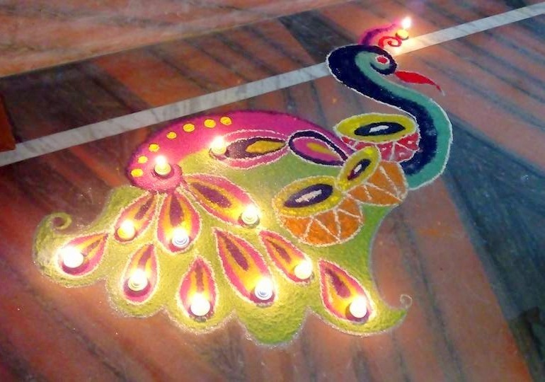 Peacock Images For Rangoli with Diyas