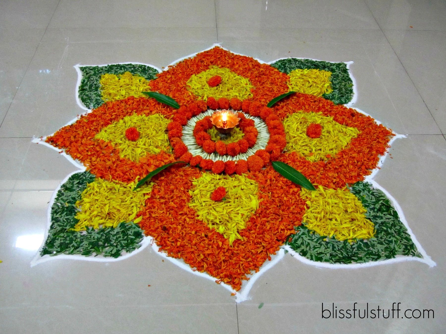 Flower Rangoli Designs For Diwali