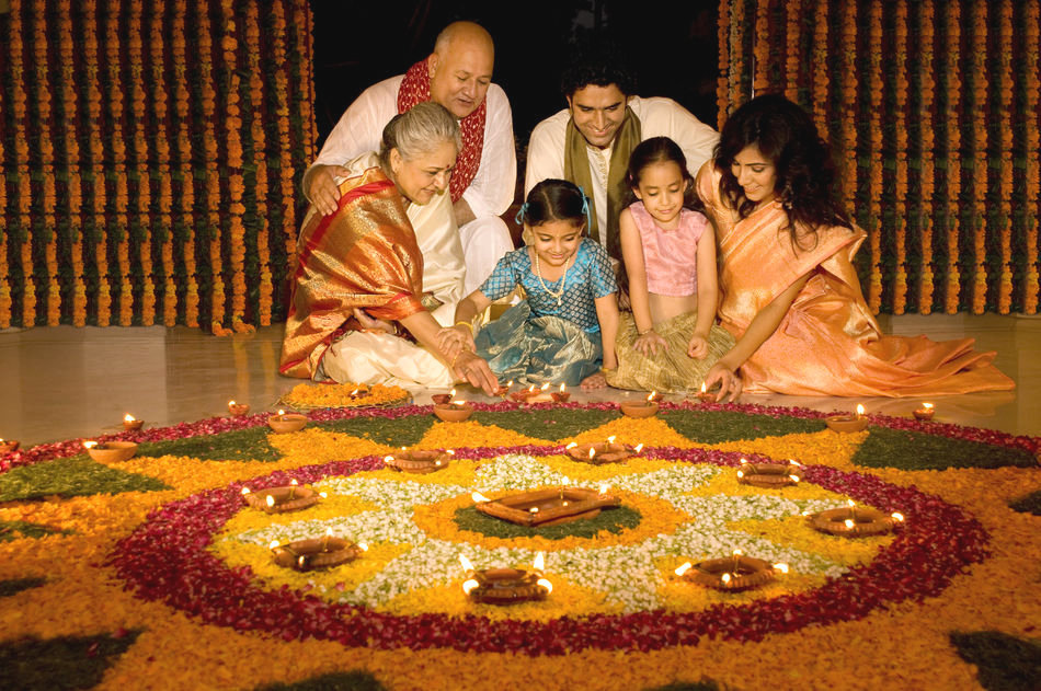 Family during Diwali