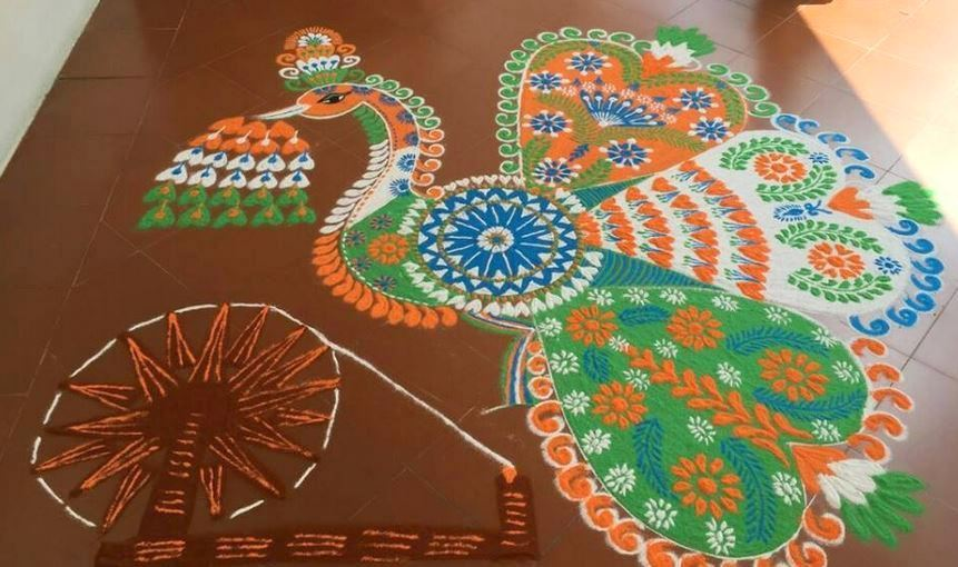 Peacock Rangoli for Independence & Republic Day
