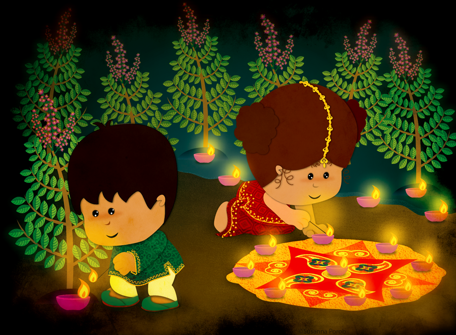 Very Cute Kids Diwali Wallpaper