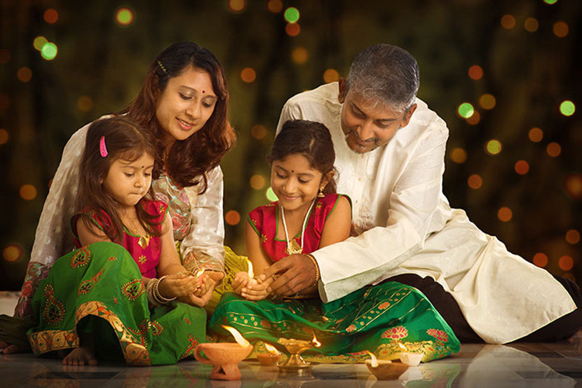 Whole family celebration on Diwali