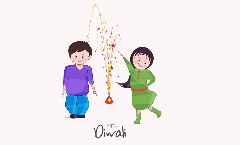 Brother Sister Celebrating Diwali