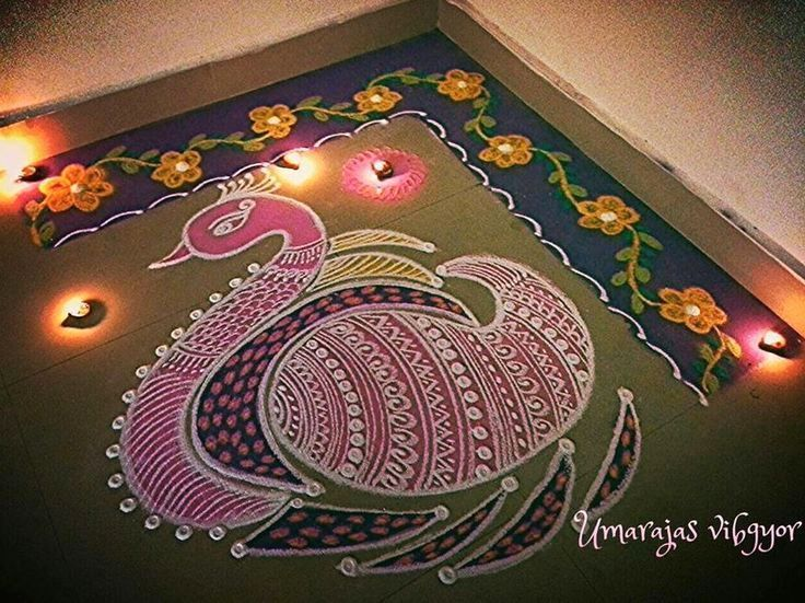 Beautiful Peacock Rangoli for Diwali