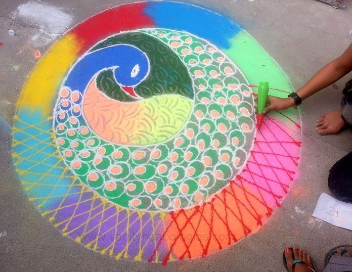 Peacock Feather Rangoli with Color