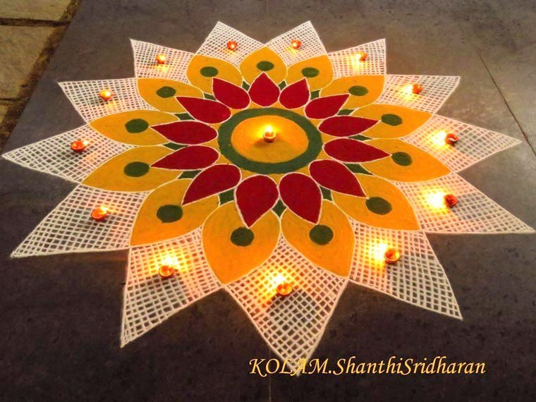 Floral Rangoli Designs For Competition