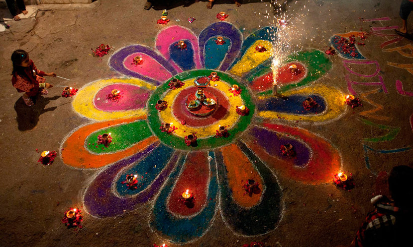 Colony Rangoli Images for Diwali