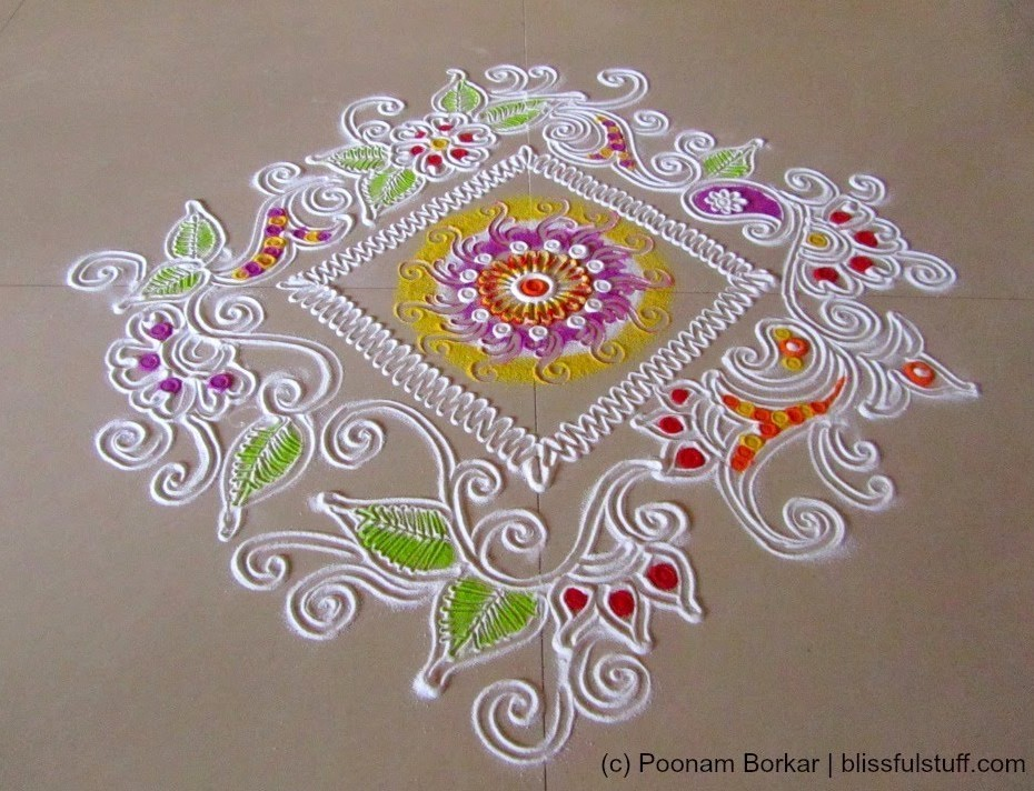 Free Hand Rangoli Designs for Deepavali