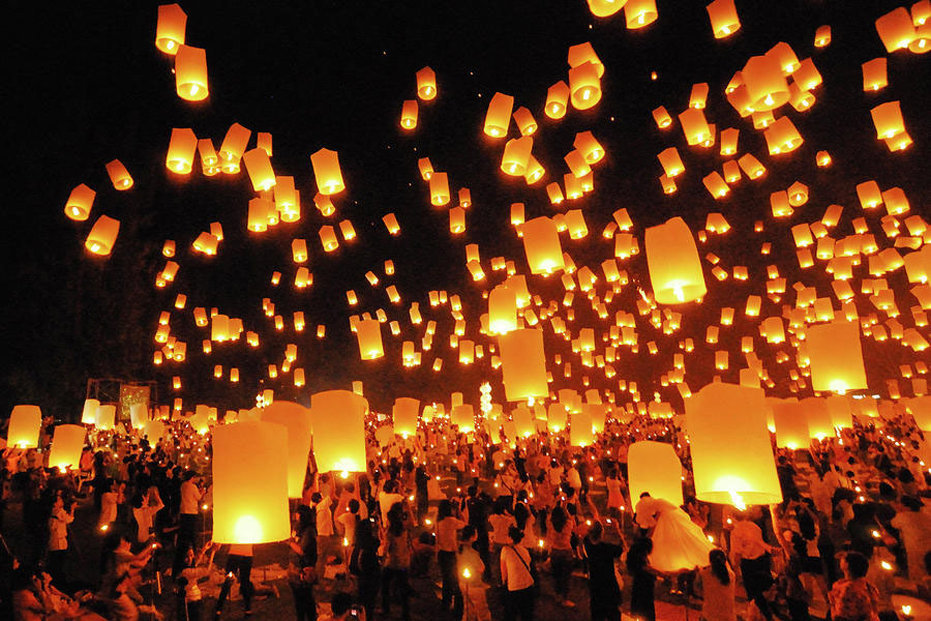 Happy Diwali Wishes Lamps in the Sky