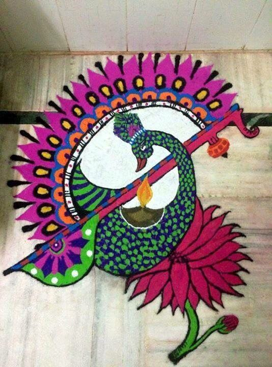 Attractive Peacock Rangoli Image