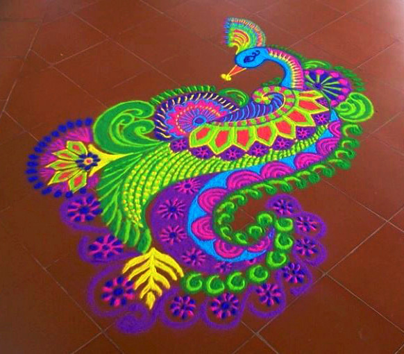 Peacock Rangoli for Competition