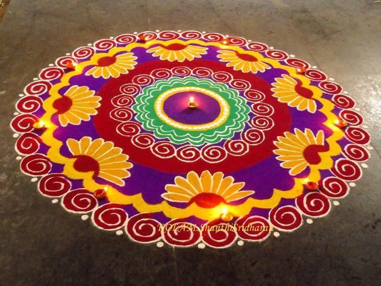 Floral Rangoli for Diwali