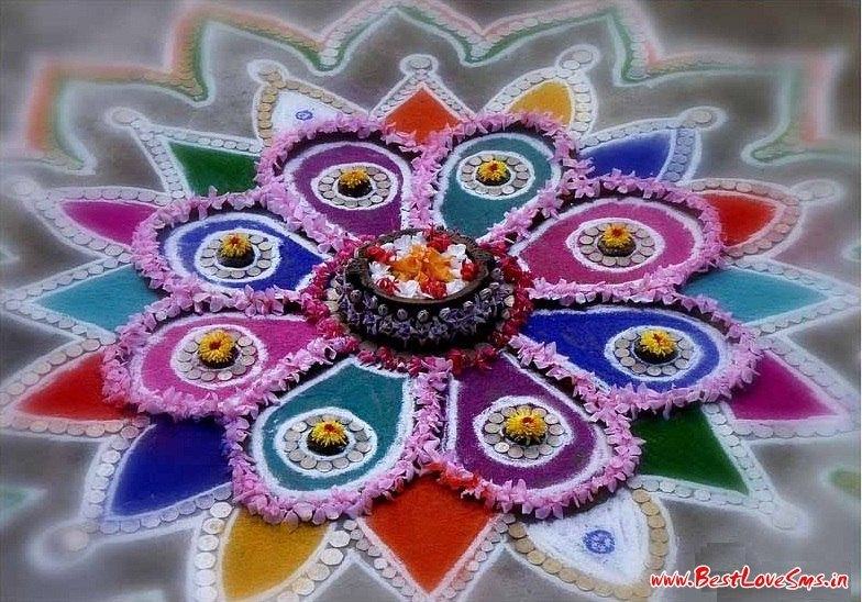Diwali Rangoli with Colors