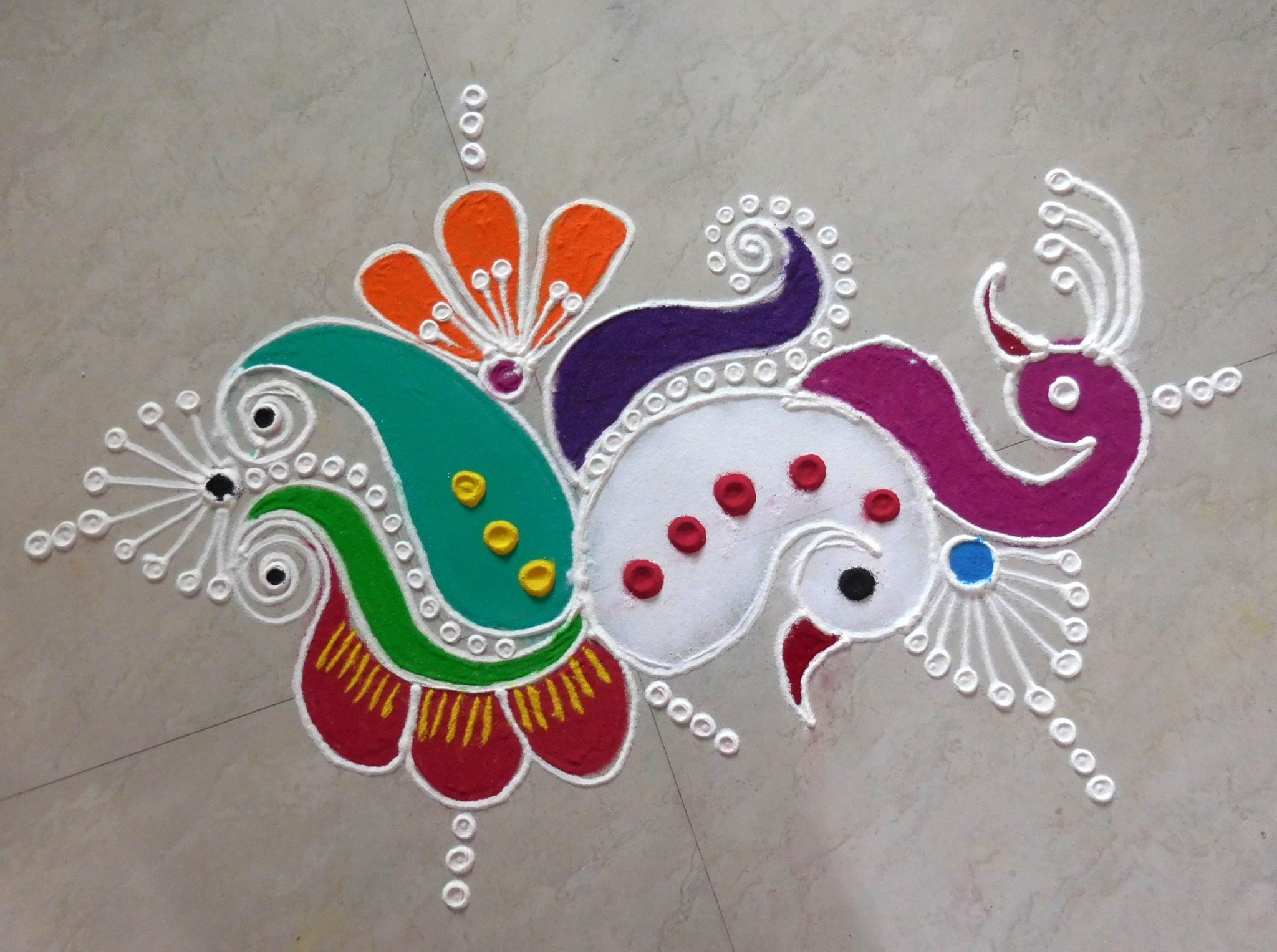 Peacock Rangoli for Deepavali Festival