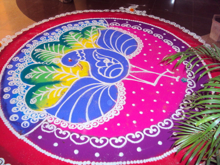 Peacock Rangoli Image with Colors